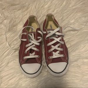 Deep red converse! Size:3 worn once!